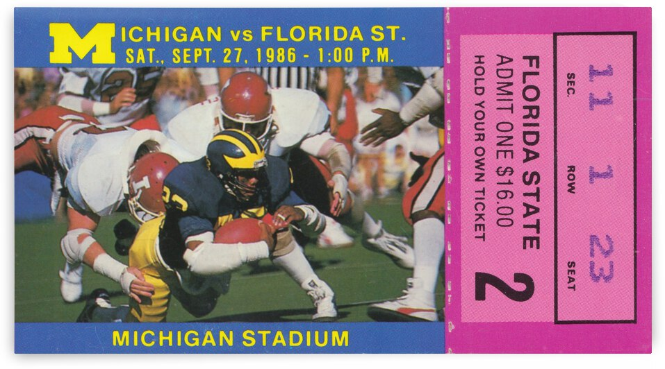1986 Michigan vs. Florida State Football Ticket Art by Row One Brand