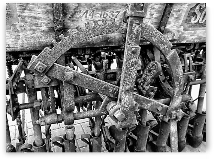 Antique Ploughing Machinery Black and White by Dorothy Berry-Lound