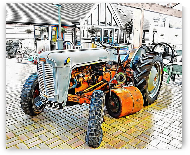Ferguson Tractor and Hand Roller by Dorothy Berry-Lound