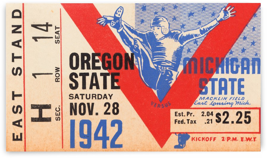 1942 Oregon State vs. Michigan State by Row One Brand