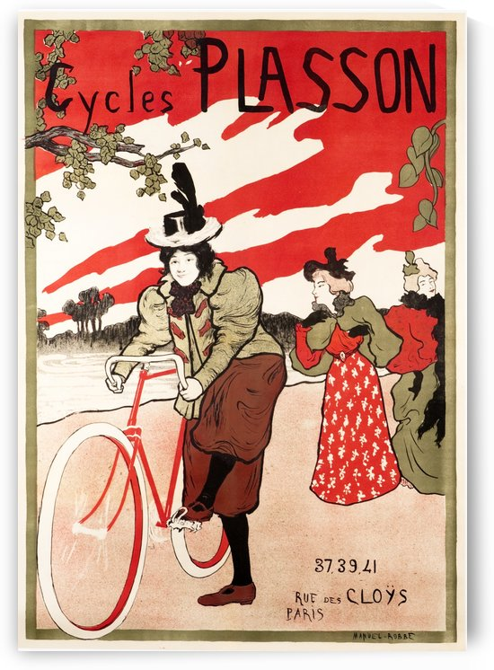 Cycles Plasson old French bicycle advertisement poster by VINTAGE POSTER