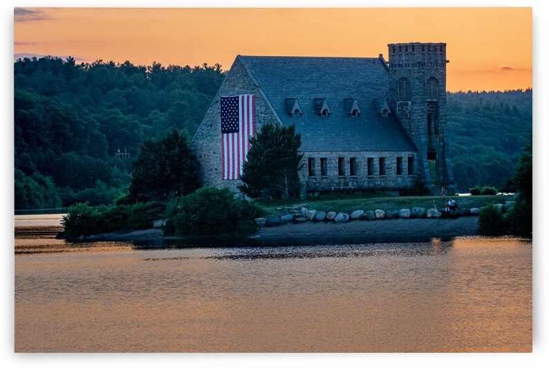 Sunset at the Old Stone Church in West Boylston 2 by Dimitry Papkov