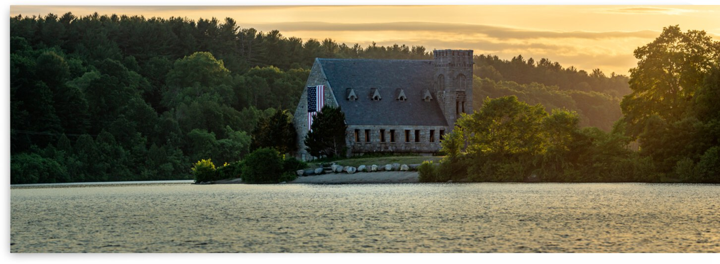 Sunset at the Old Stone Church in West Boylston Pano by Dimitry Papkov