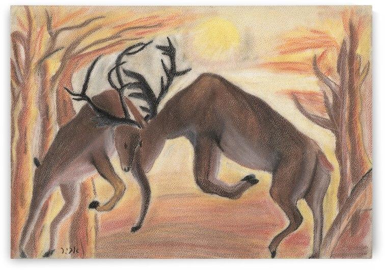 RA 001 - קרב איילים - battle of moose by Avi Romano Art