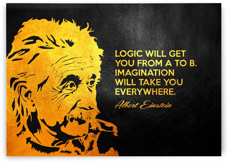 Albert Einstein Logic and Imagination Motivational Wall Art by ABConcepts