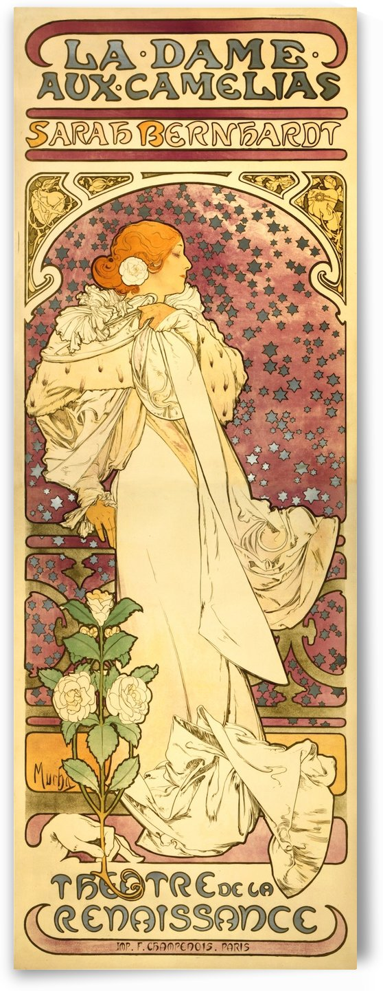 La Dame Aux Camelias by Alphonse Mucha by VINTAGE POSTER