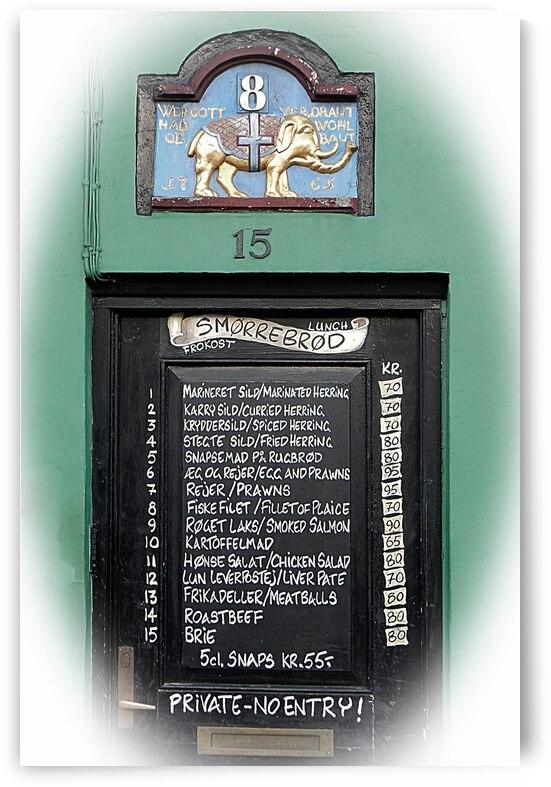 Door With Menu Nyhavn Harbour by Dorothy Berry-Lound