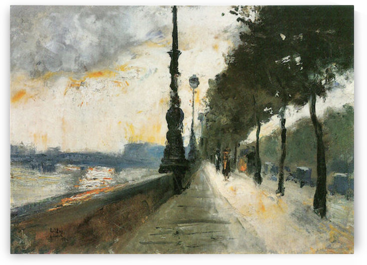 Waterloo Bridge in the Sun by Lesser Ury by Lesser Ury