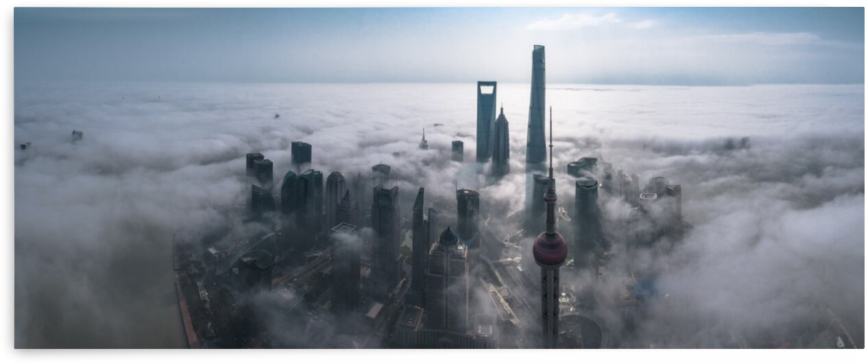 Shanghai in the fog from above by 1x