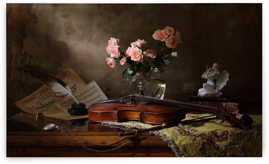 Still life with violin and roses by 1x