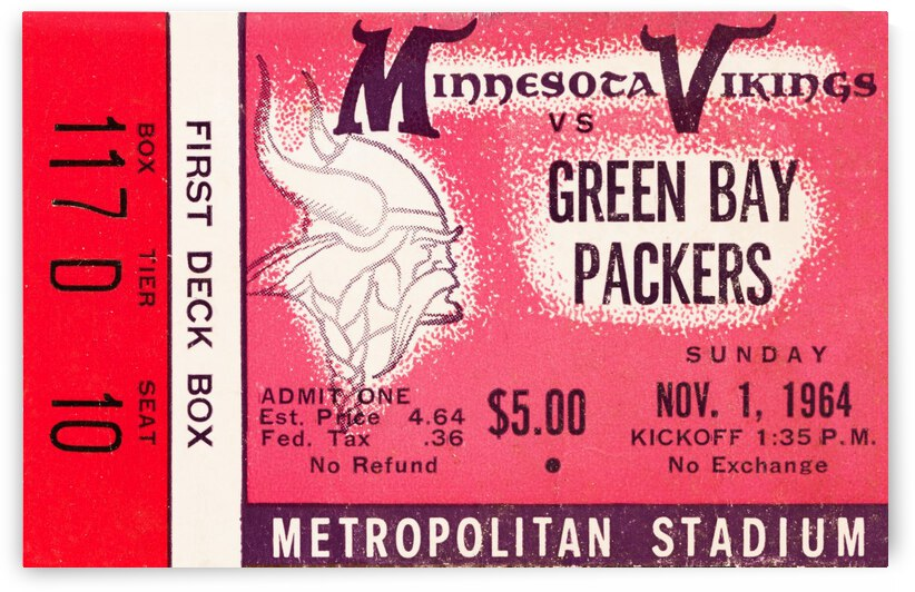 1964 Minnesota Vikings vs. Green Bay Packers Ticket Canvas by Row One Brand