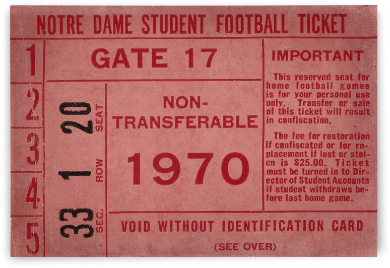 1970 Notre Dame Football Student Season Ticket Art by Row One Brand