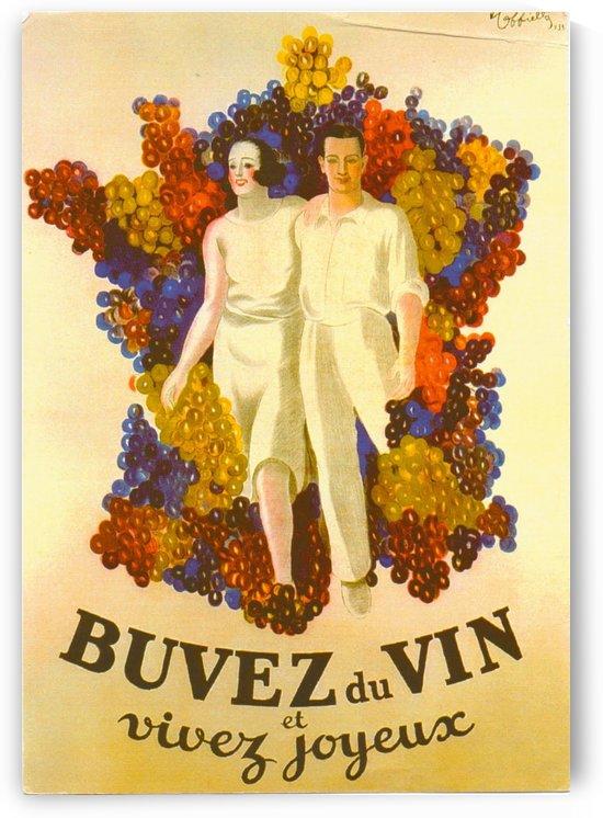 Buvez du Vin et Vivez Joyeux French ad from 1939 by VINTAGE POSTER