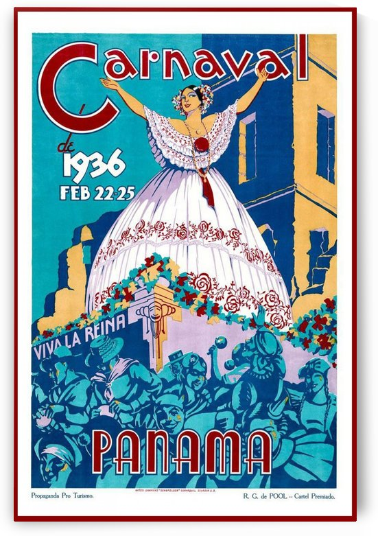 Carnaval de 1936 Panama Vintage Travel Poster by VINTAGE POSTER