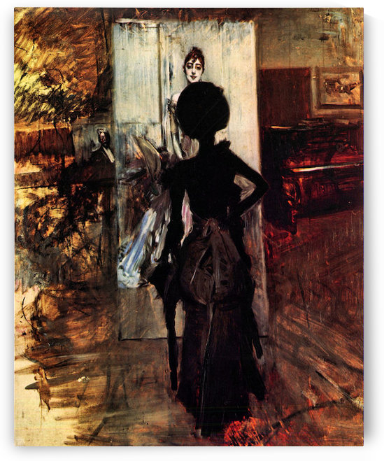 Woman in front of the painting White pastel picture by Giovanni Boldini by Giovanni Boldini