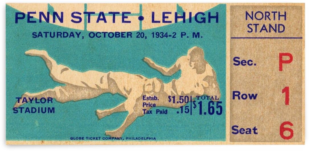 1934 Penn State vs. Lehigh Football Ticket Art by Row One Brand