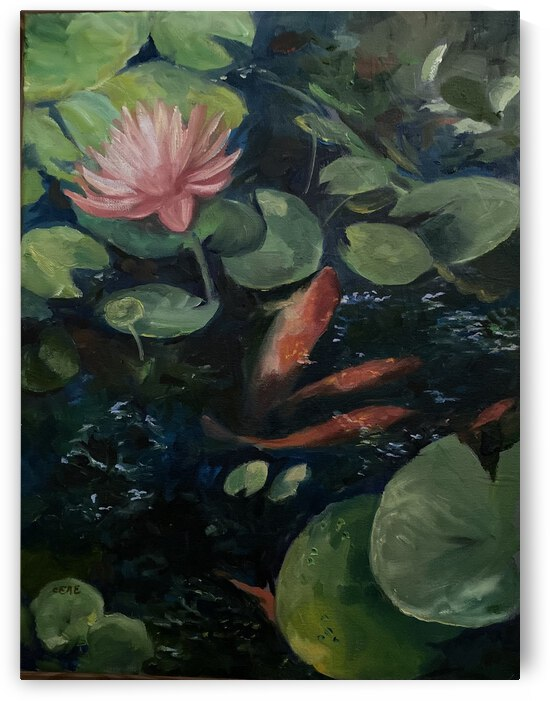 Koi with water lily  by Cene