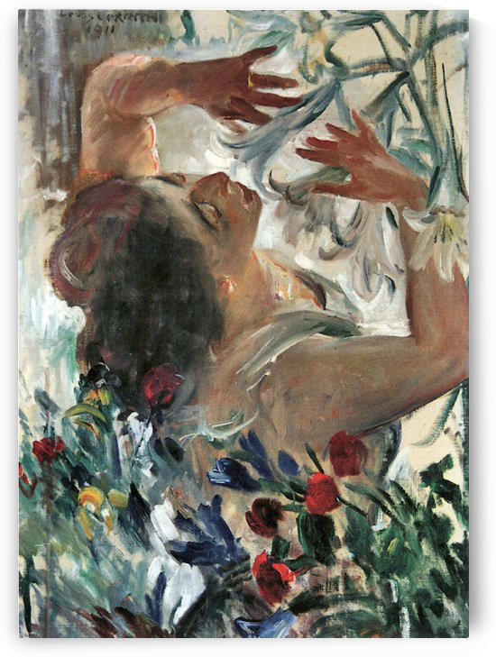 Woman with lilies in the greenhouse by Lovis Corinth by Lovis Corinth