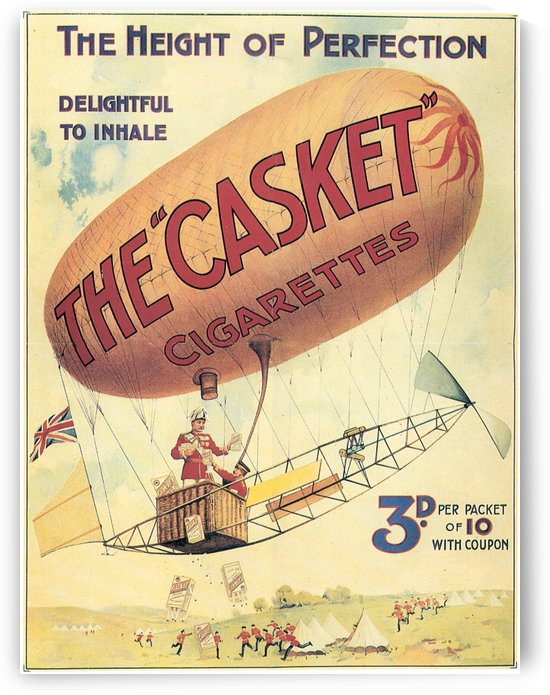 The Casket Cigarettes Air Balloon Vintage Ad Poster by VINTAGE POSTER