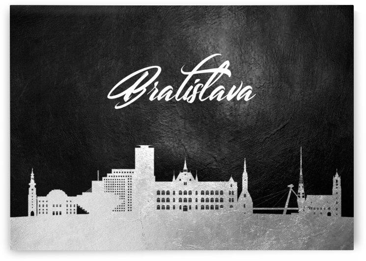 bratislava slovakia silver skyline wall art by ABConcepts