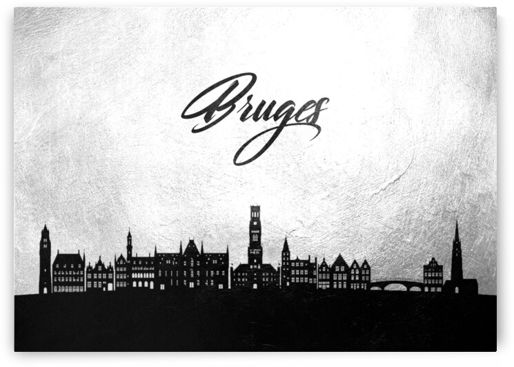 bruges belgium charcoal skyline wall art by ABConcepts