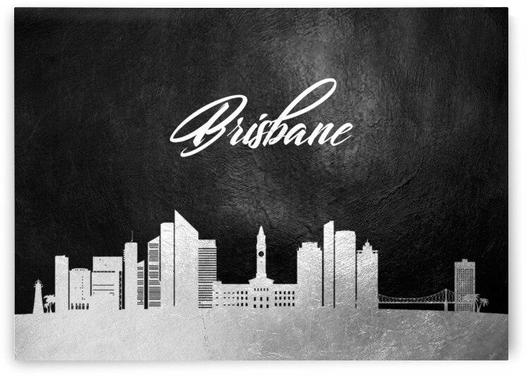 brisbane australia silver skyline wall art by ABConcepts
