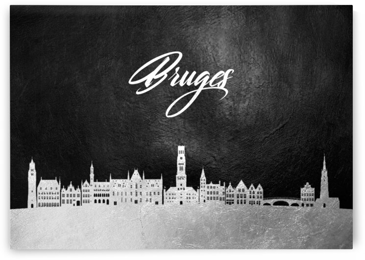 bruges belgium silver skyline wall art by ABConcepts