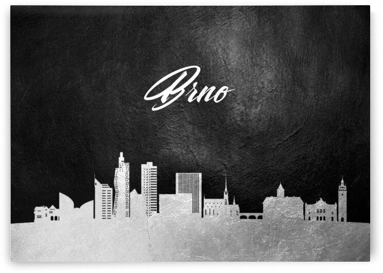brno czech republic silver skyline wall art by ABConcepts
