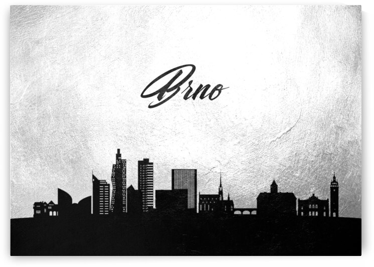 brno czech republic charcoal skyline wall art by ABConcepts