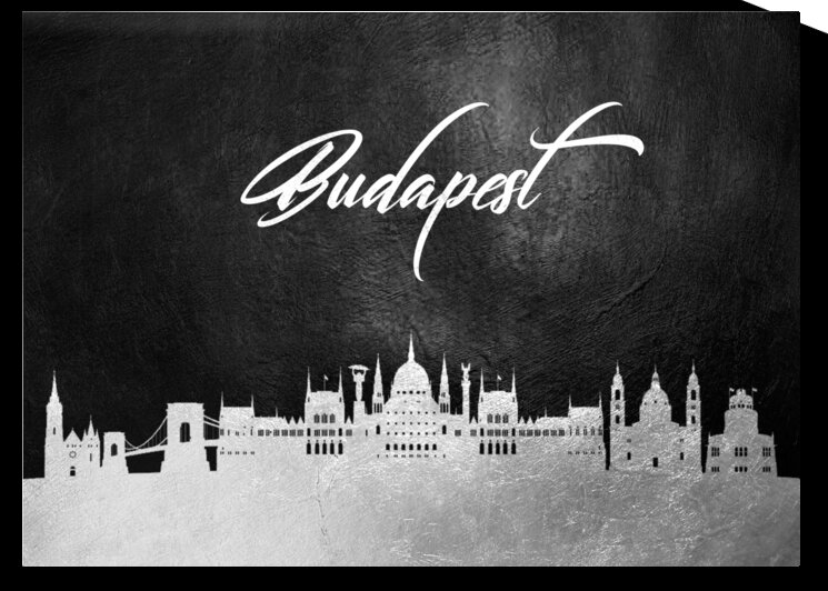 budapest hungary silver skyline wall art by ABConcepts