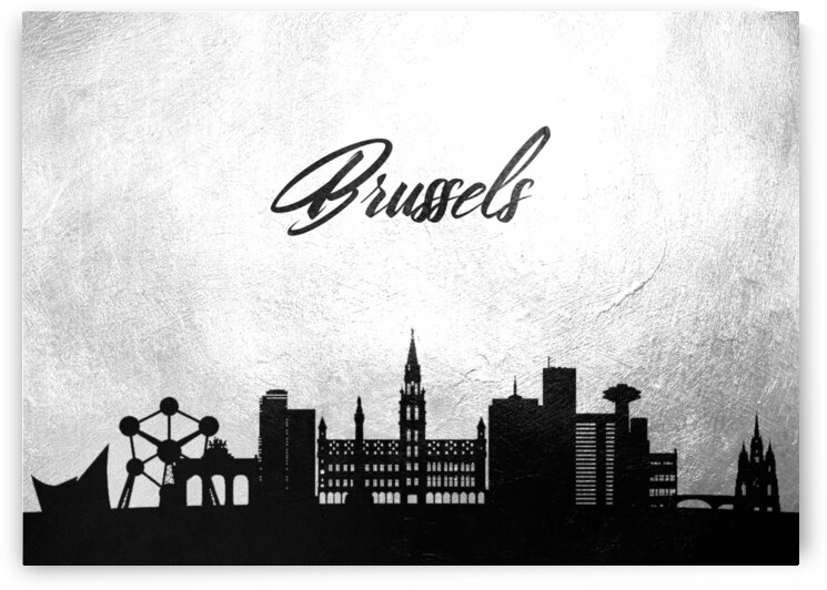 brussels belgium charcoal skyline wall art by ABConcepts