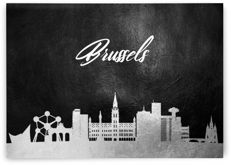 brussels belgium silver skyline wall art by ABConcepts