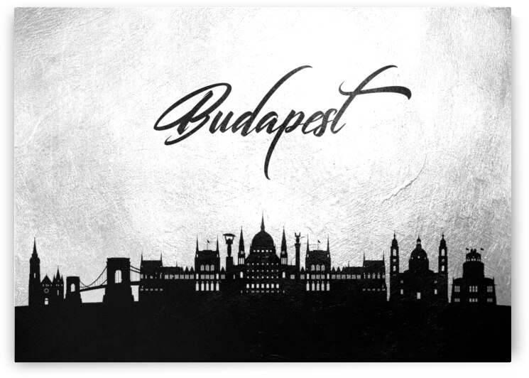 budapest hungary charcoal skyline wall art by ABConcepts