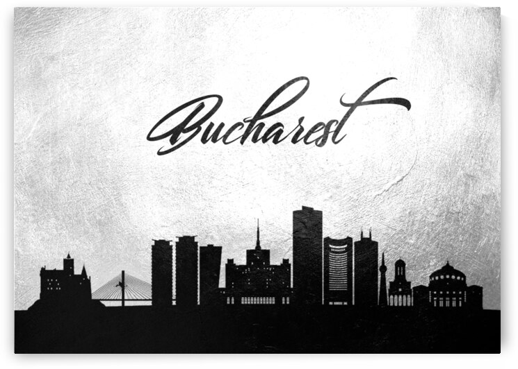 bucharest romania charcoal skyline wall art by ABConcepts