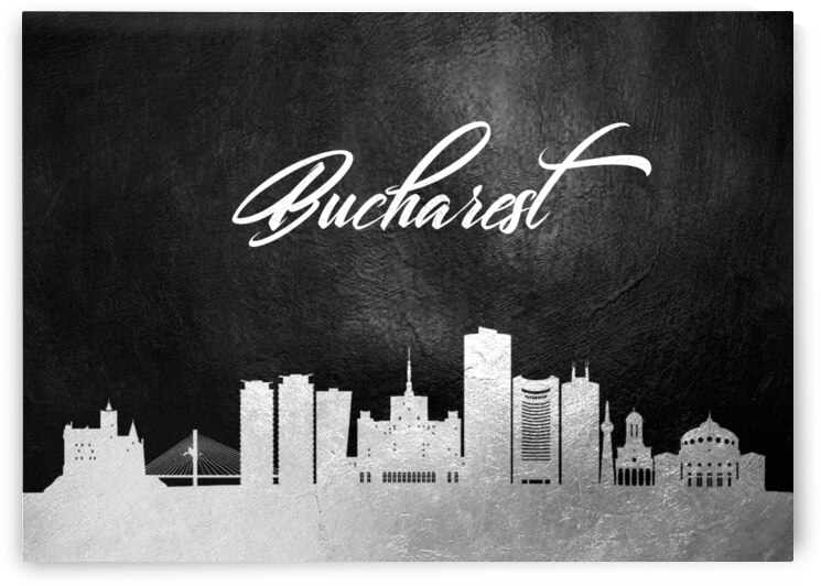 bucharest romania silver skyline wall art by ABConcepts