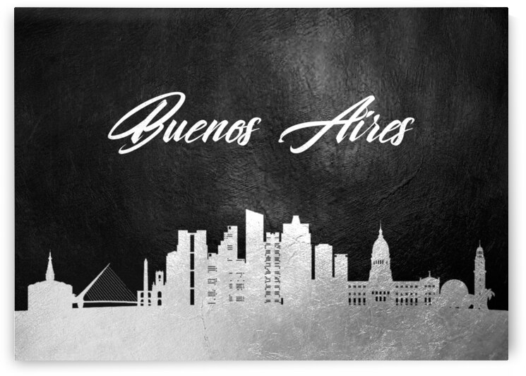 buenos aires argentina silver skyline wall art by ABConcepts