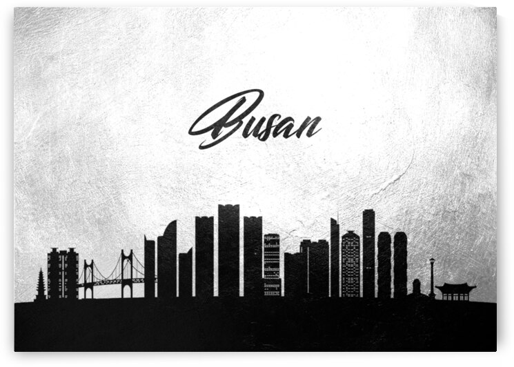 busan south korea charcoal skyline wall art by ABConcepts