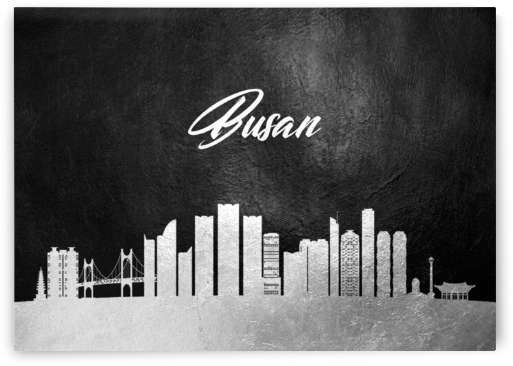 busan south korea silver skyline wall art by ABConcepts