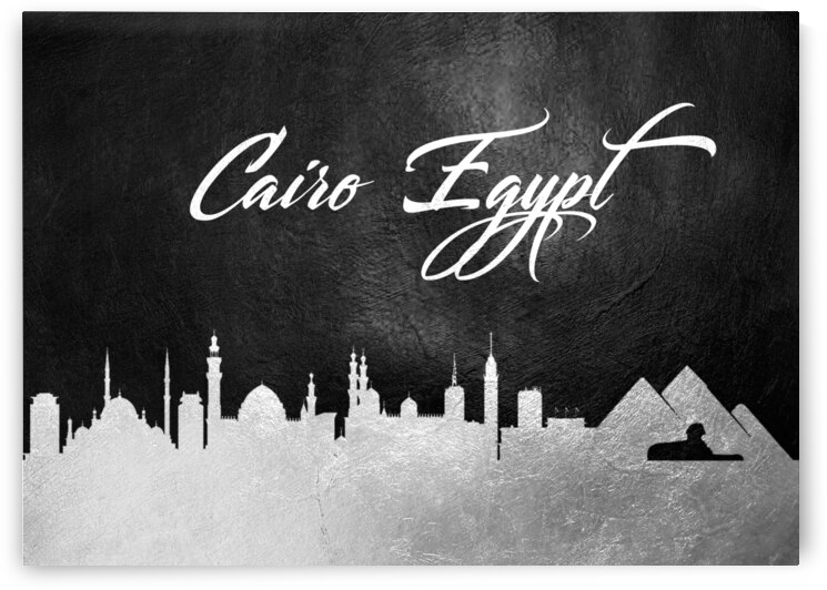 cairo egypt silver skyline wall art by ABConcepts