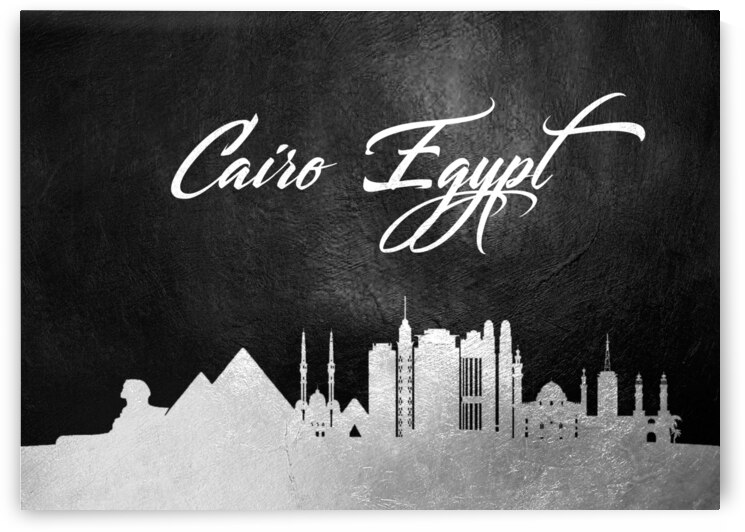 cairo egypt silver skyline wall art 2 by ABConcepts