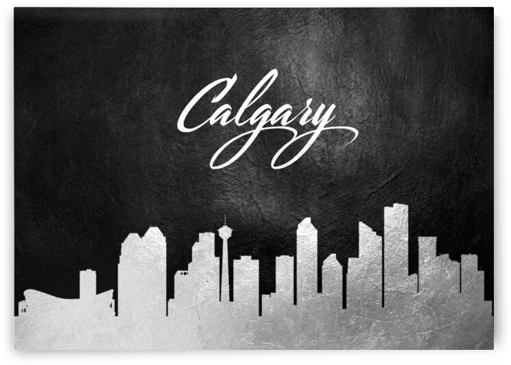 calgary canada silver skyline wall art by ABConcepts