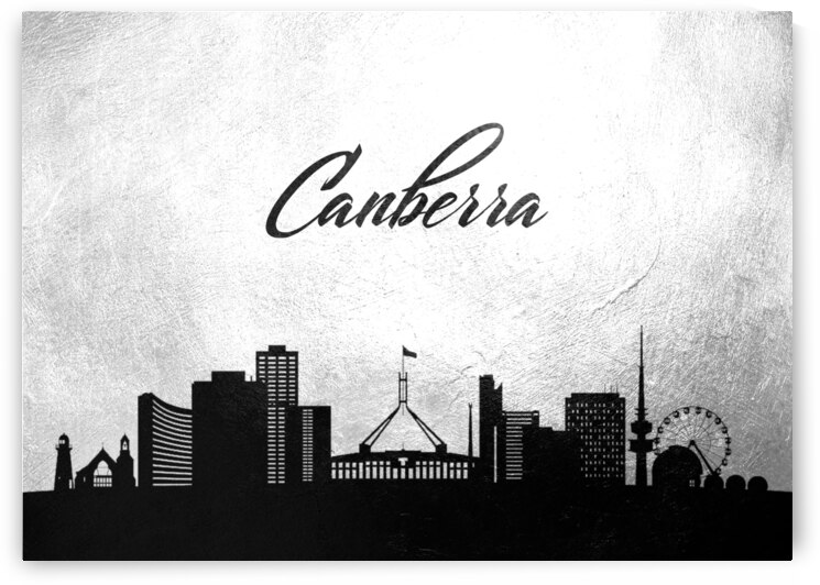 canberra australia charcoal skyline wall art by ABConcepts