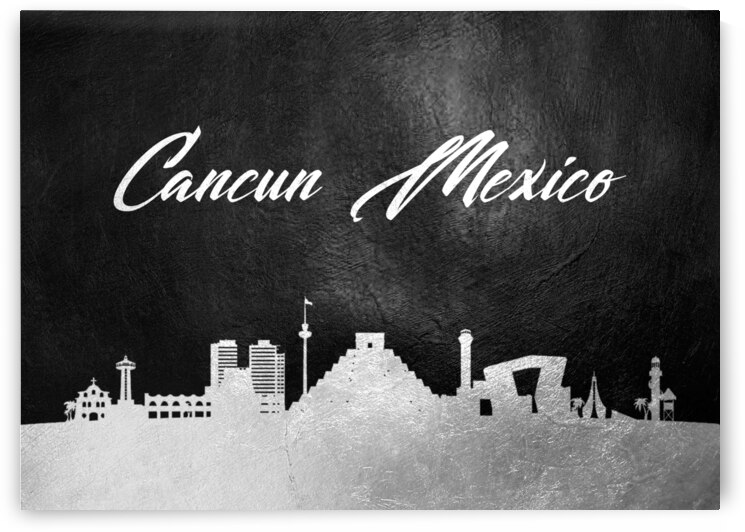 cancun mexico silver skyline wall art by ABConcepts