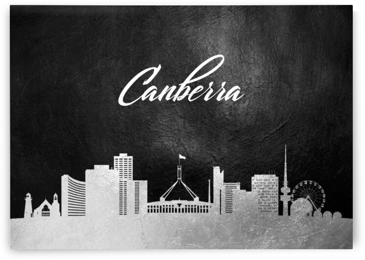canberra australia silver skyline wall art by ABConcepts