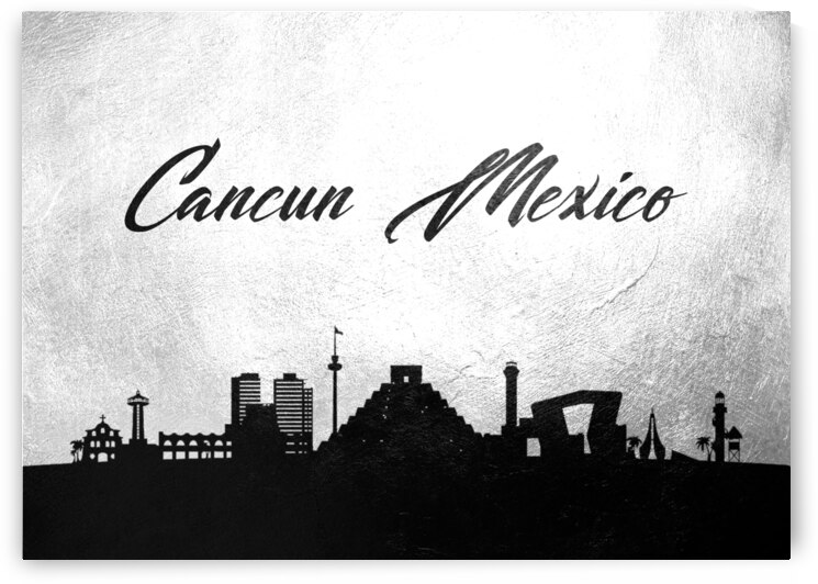 cancun mexico charcoal skyline wall art by ABConcepts