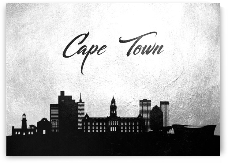 cape town south africa charcoal skyline wall art by ABConcepts