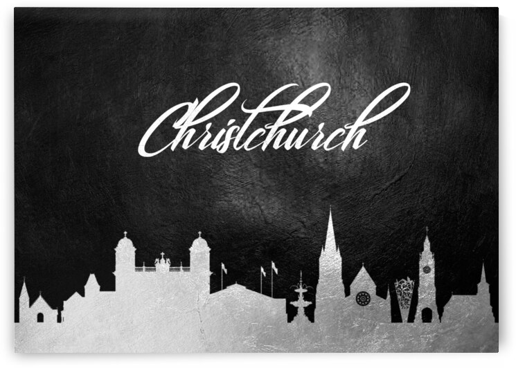 christchurch new zealand silver skyline wall art by ABConcepts