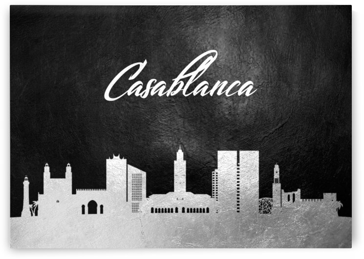 casablanca morocco silver skyline wall art by ABConcepts