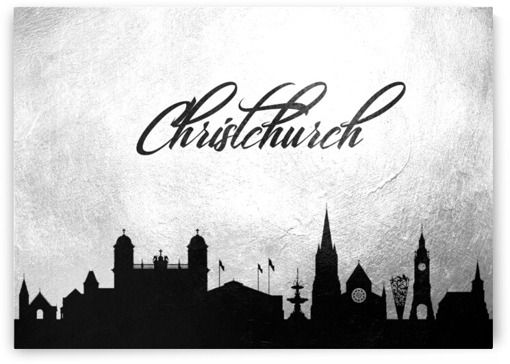 christchurch new zealand charcoal skyline wall art by ABConcepts