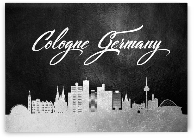 cologne germany silver skyline wall art by ABConcepts